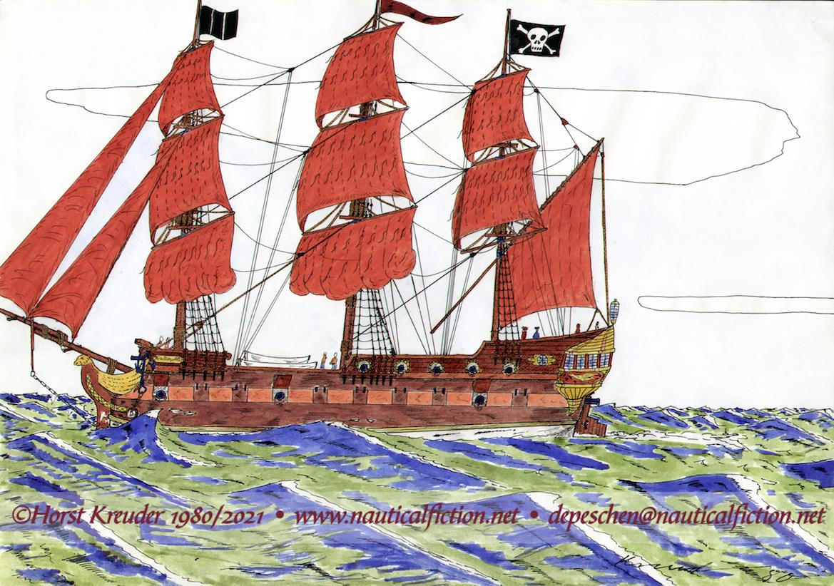 """Studie """"Le Faucon Noir"""" einer großen (Freibeuter) Fregatte am Übergang vom 17. zum 18. Jhrt."""